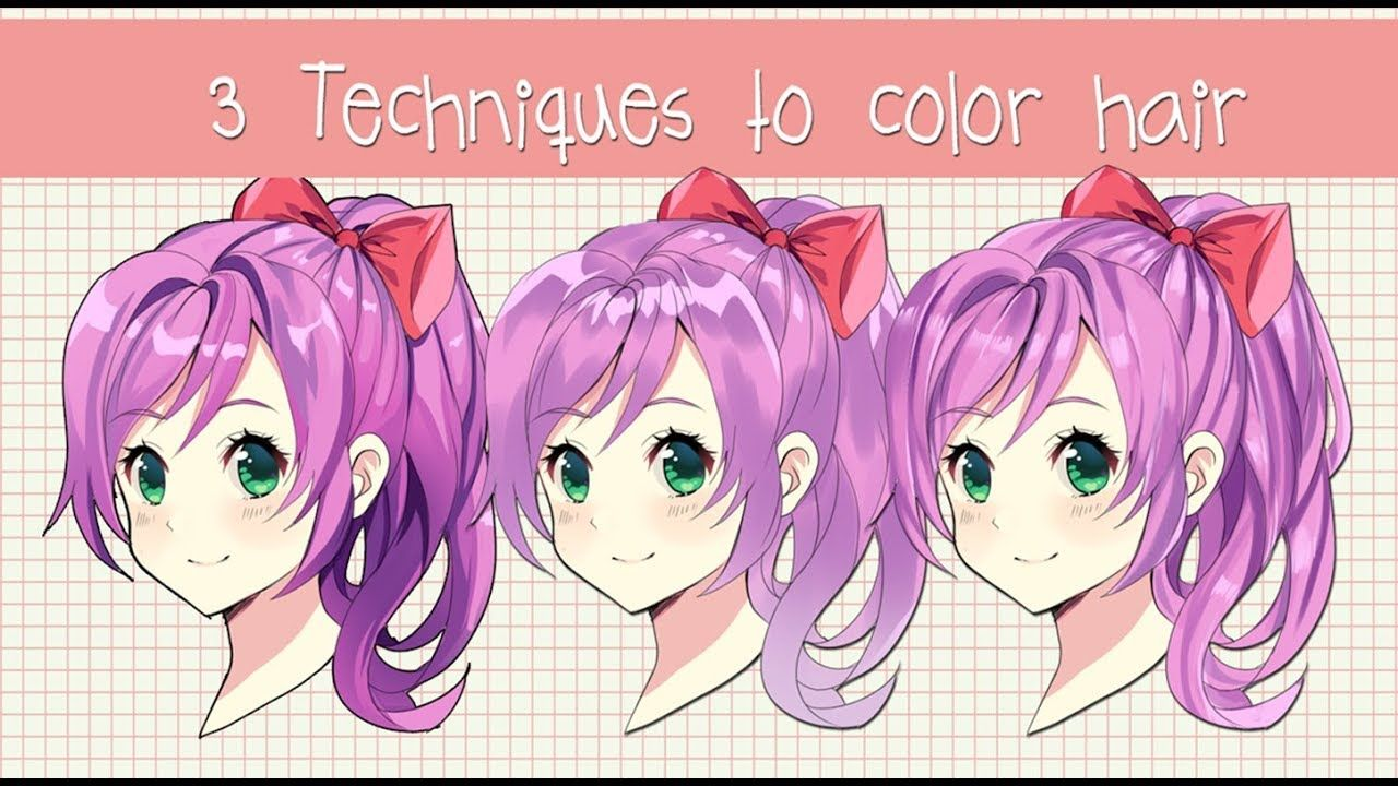 3 Different Ways To Shade Hair Anime Hair Coloring Tutorial Brushes Youtube Anime Hair Coloring Tutorial How To Shade