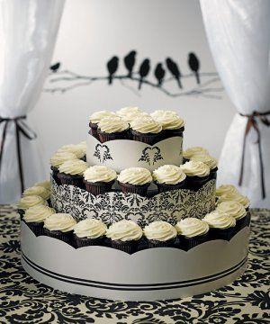 WEDDING CUPCAKE STAND | 3 TIERS WEDDING CAKE DECORATION DISPLAY STAND - LOVE BIRD DAMASK