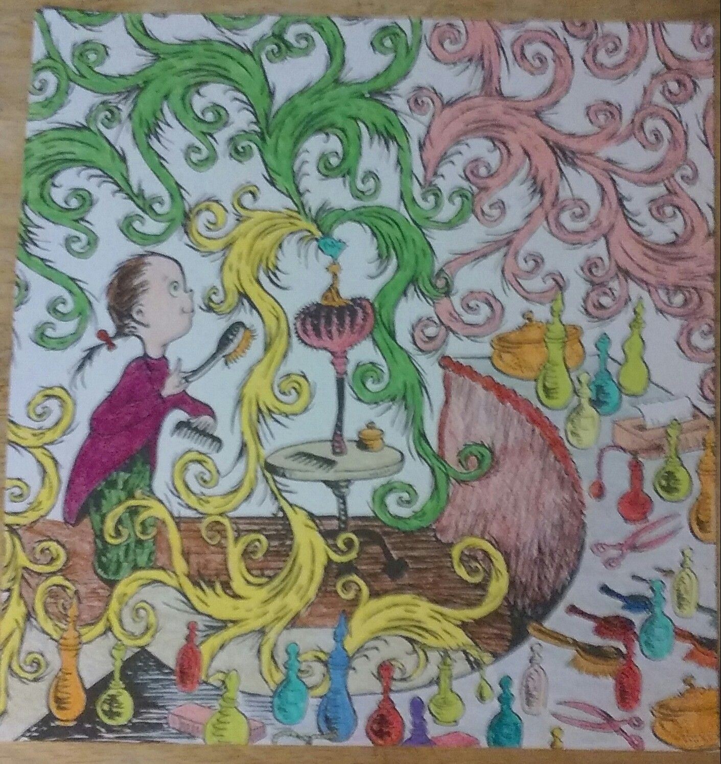 Another From The Dr Seuss Coloring Book Used A Variety Of Colored Pencils Coloring Books Coloring Book Pages Color Of Life