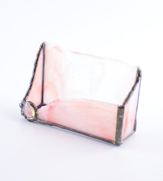 Desktop business card holder desk accessories pink stained glass desktop business card holder desk accessories by nostalgianmore pretty in pink reheart Image collections