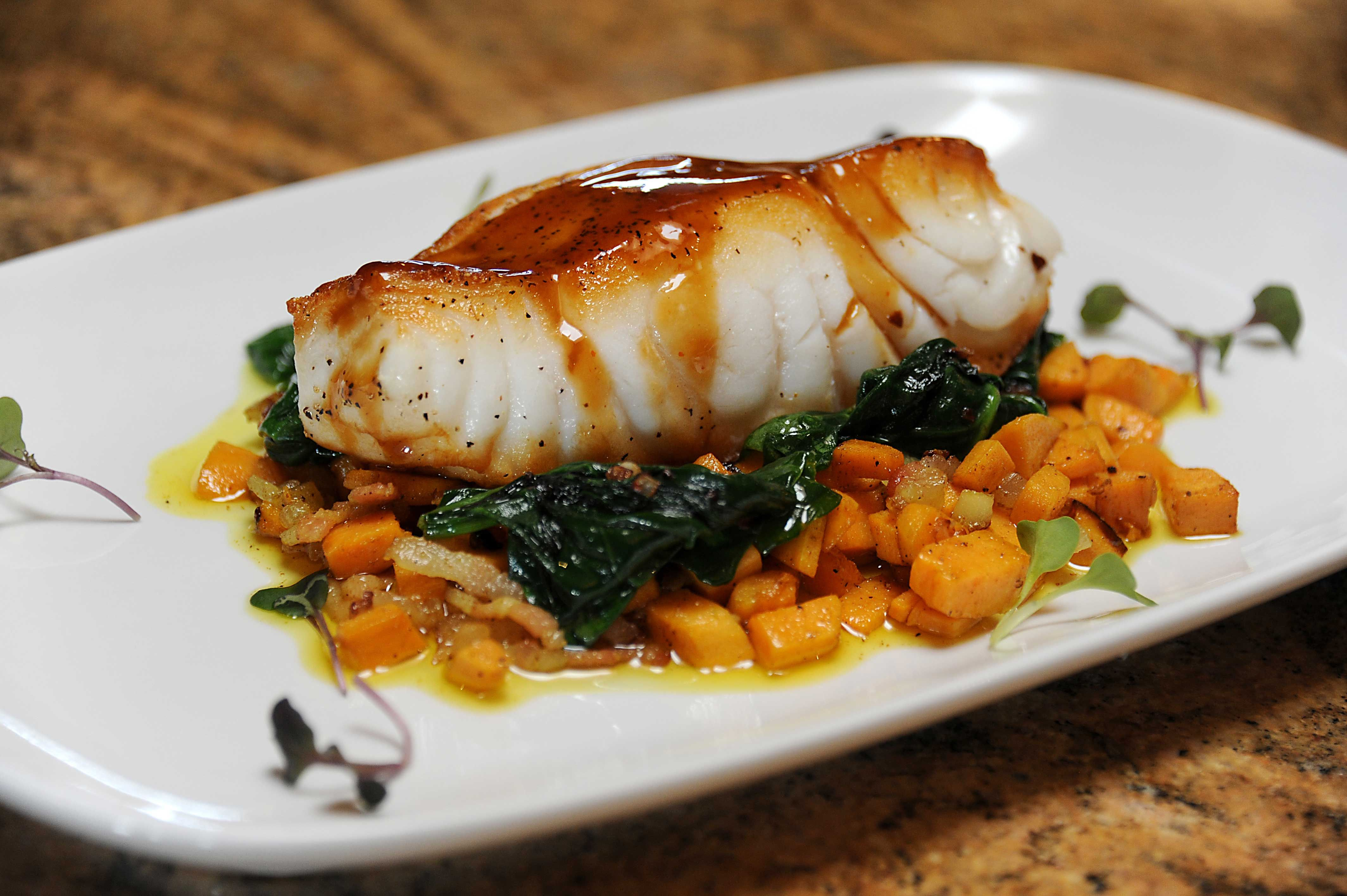 Pan-Seared Chilean Sea Bass with Sweet Potato Hash ...