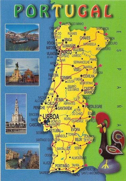 One postcard, One world: Map postcard from Portugal | Portugal ...
