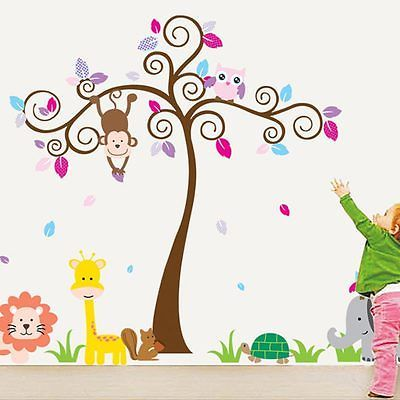 Large-Jungle-Tree-Wall-Sticker-Kids-Nursery-Decals-Girls-Bedroom-Mural-Animals