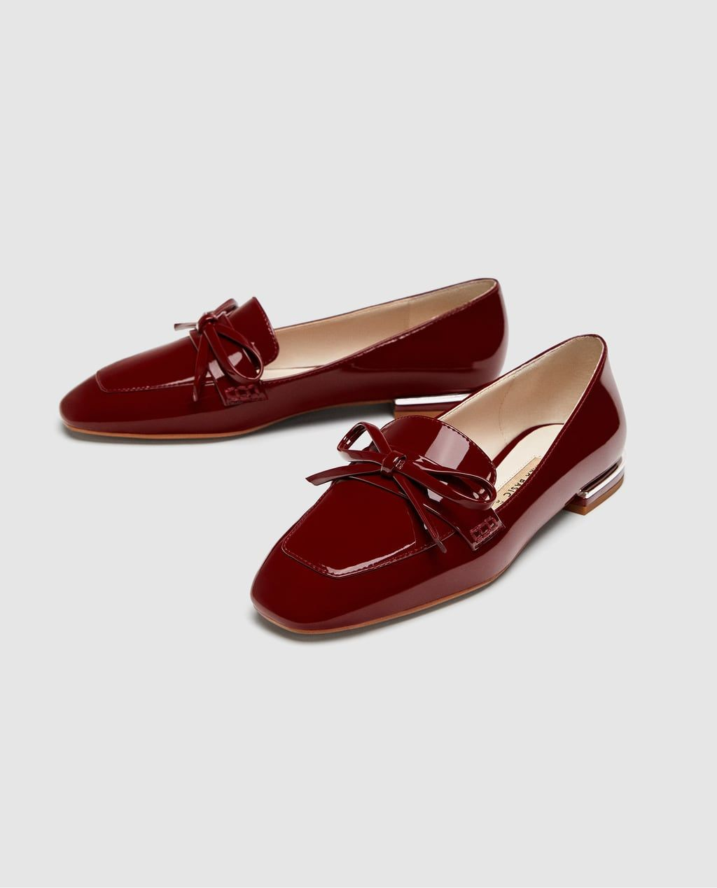 33e615d2bfc FAUX PATENT LEATHER LOAFERS WITH BOW DETAIL-Flats-SHOES-WOMAN