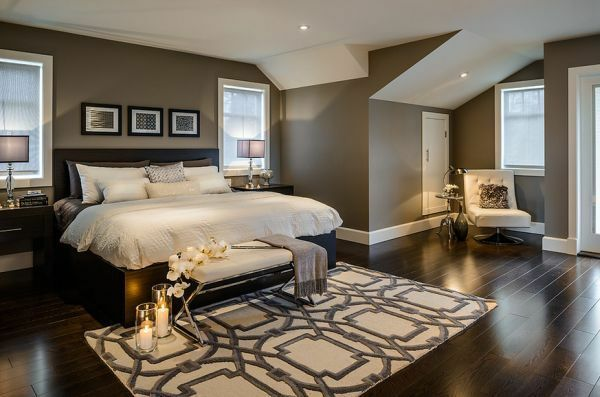 schlafzimmer bett holzboden wandfarbe grau Wohnideen Pinterest - wandfarbe grau