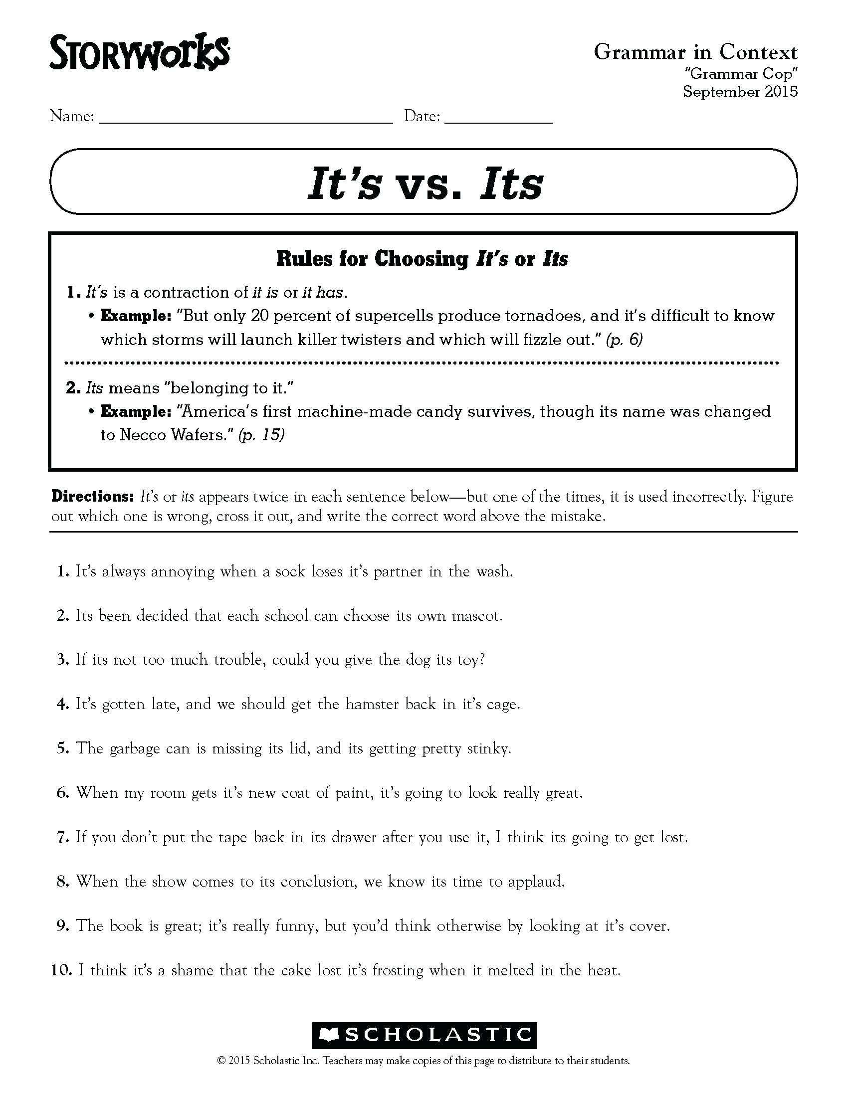 3 Worksheet Free Grammar Worksheets Fourth Grade 4