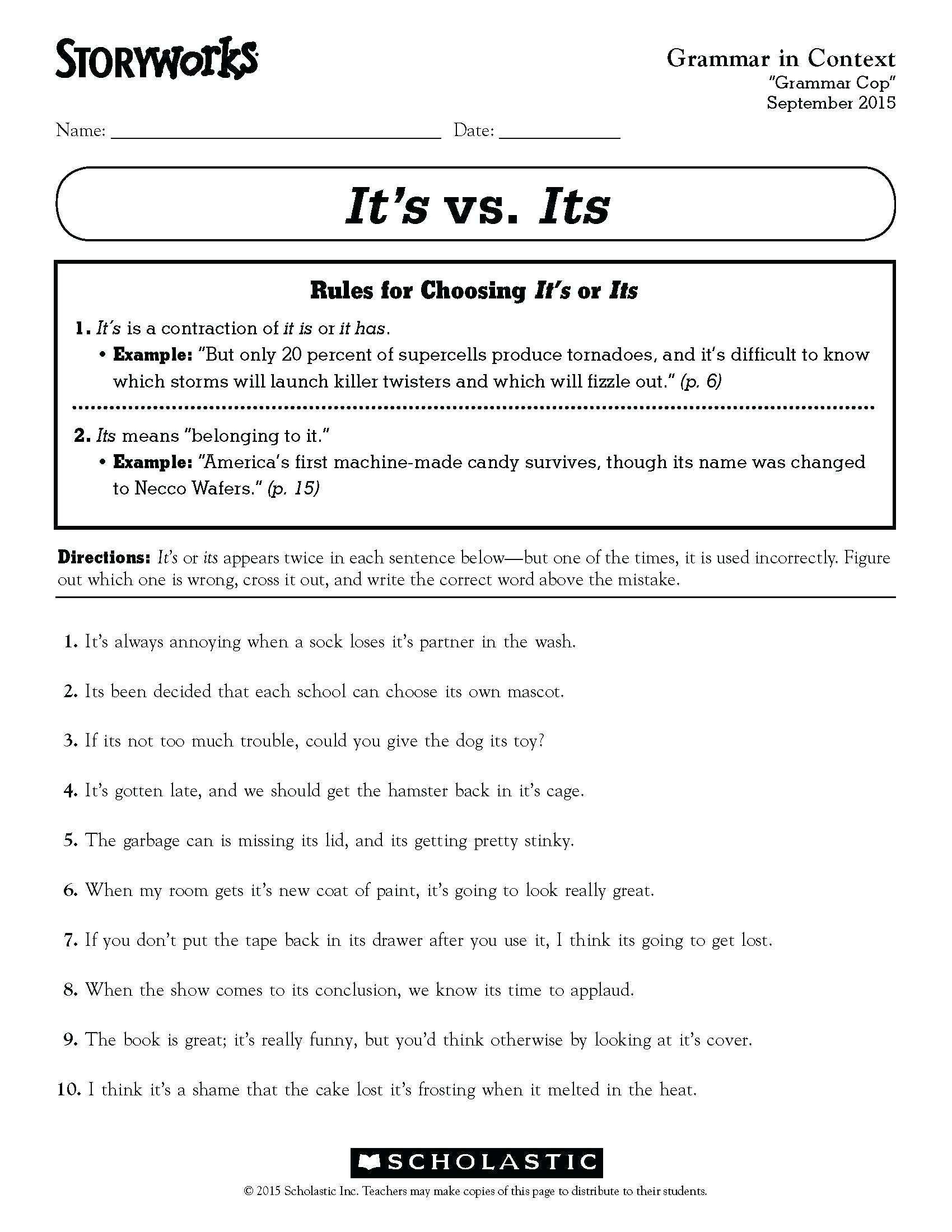 3 Worksheet Free Grammar Worksheets Fourth Grade 4