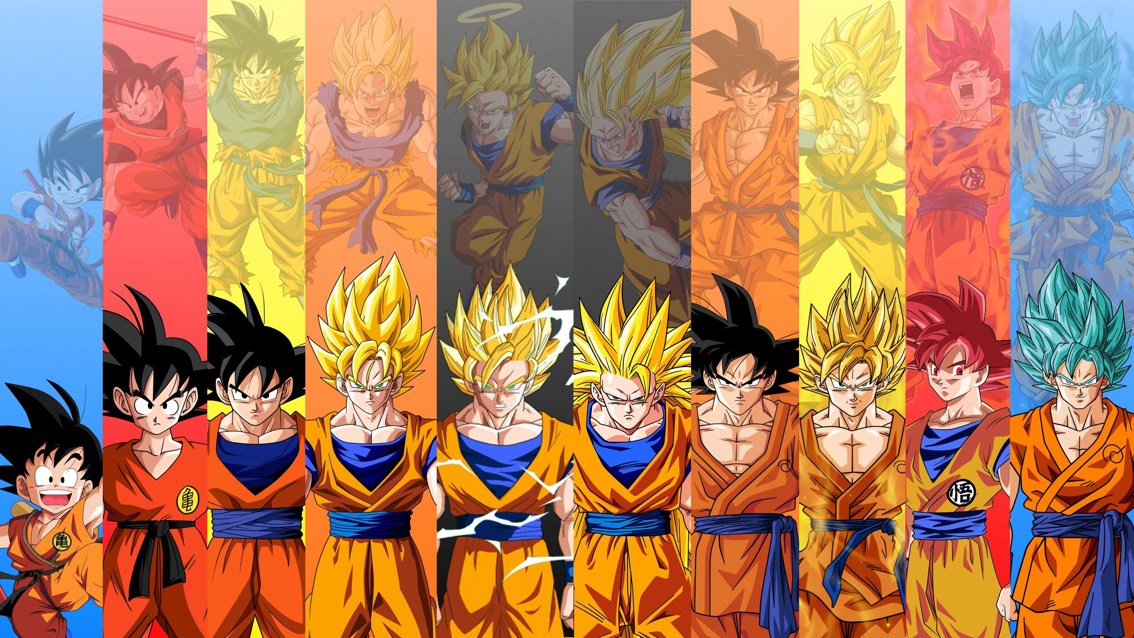 Unique Dragon Ball Z Wallpapers Goku All Super Saiyans Wallpaper
