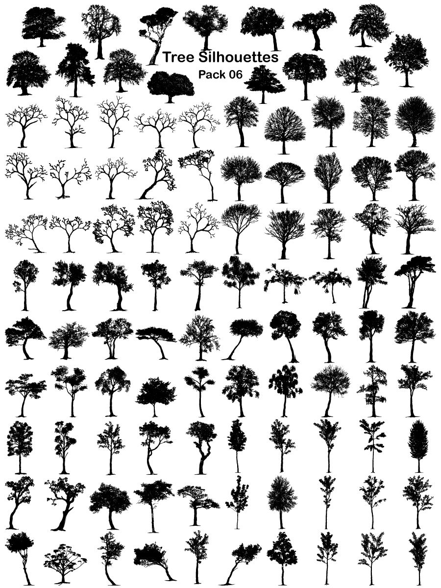 Tree Silhouettes Vector and Brush Pack06