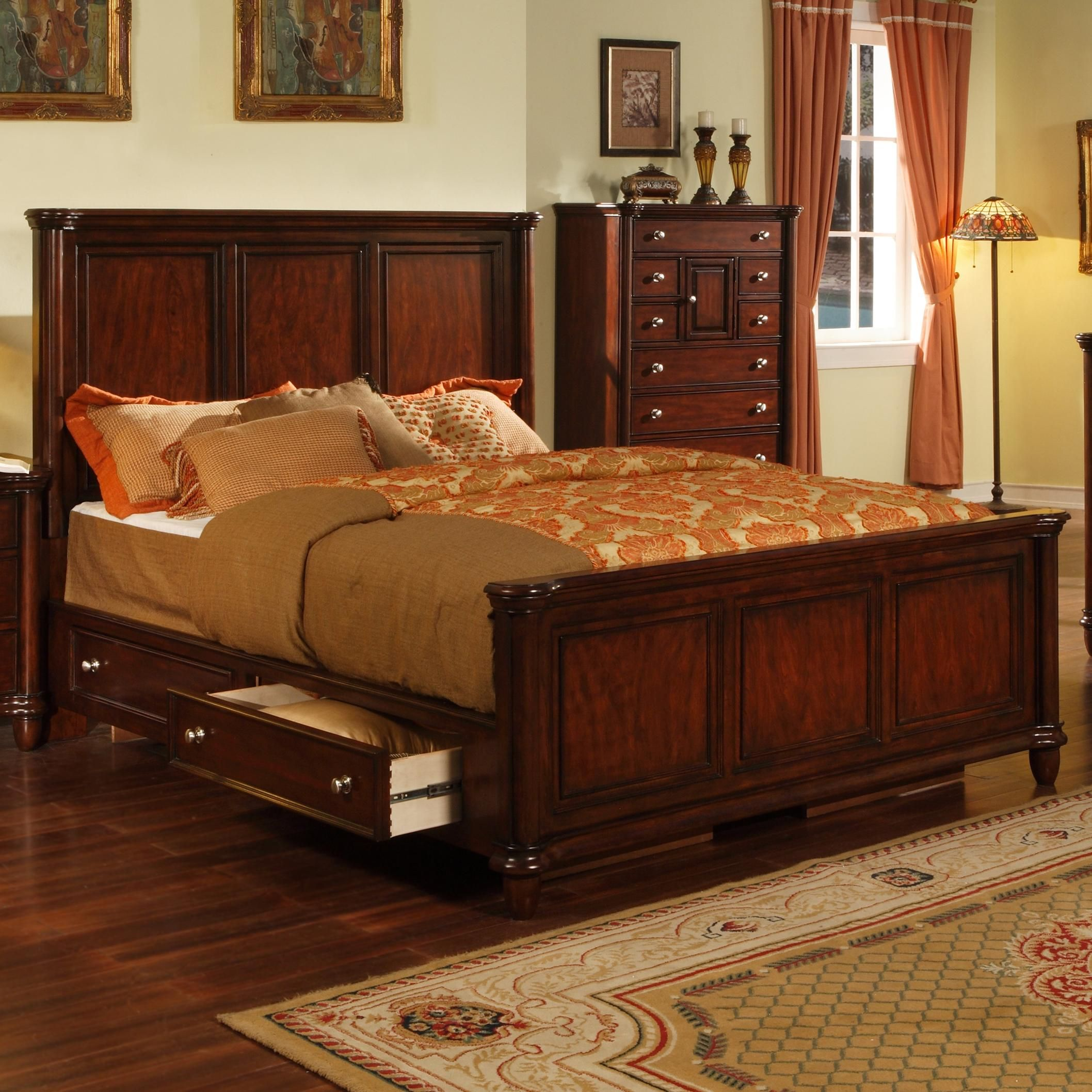 Master bedroom king bed Lockport Lockport King Storage Bed by Morris Home Furnishings