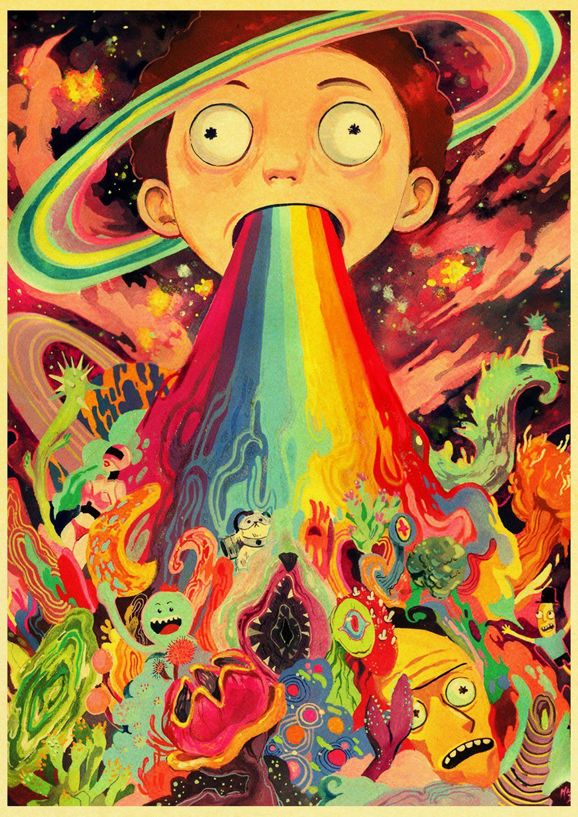 Cute Morty Smith Retro Poster In 2020 Rick Morty Poster Trippy