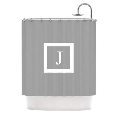 KESS InHouse Monogram Solid Shower Curtain Color: Grey, Letter: J