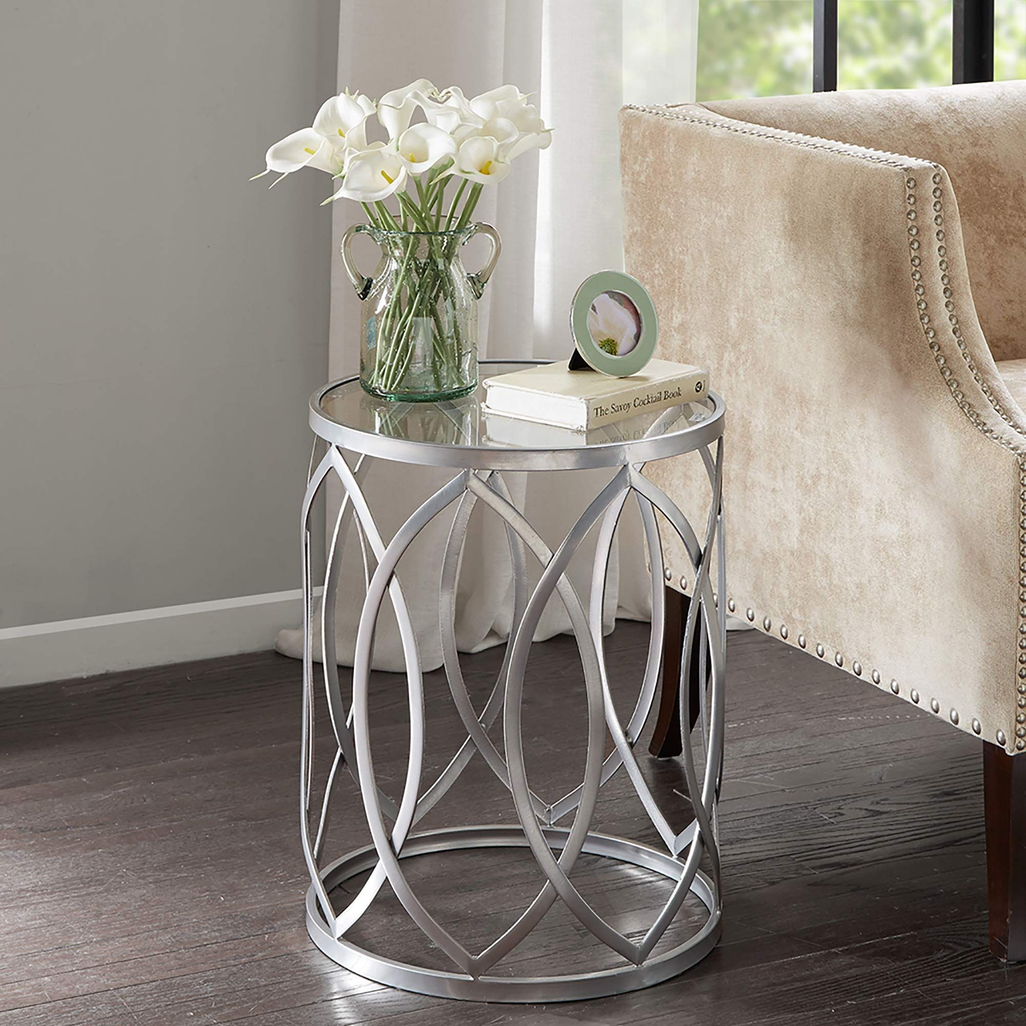 Madison Park Arlo Accent Tables For Living Room Glass Top Hollow Round Small Metal Frame G In 2020 Metal Accent Table Glass Top Accent Table Round Metal Accent Table #round #glass #tables #for #living #room