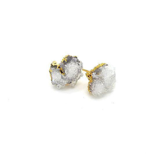 Crystal Earrings Raw Crystal Stud Earrings Quartz by toccajewelry
