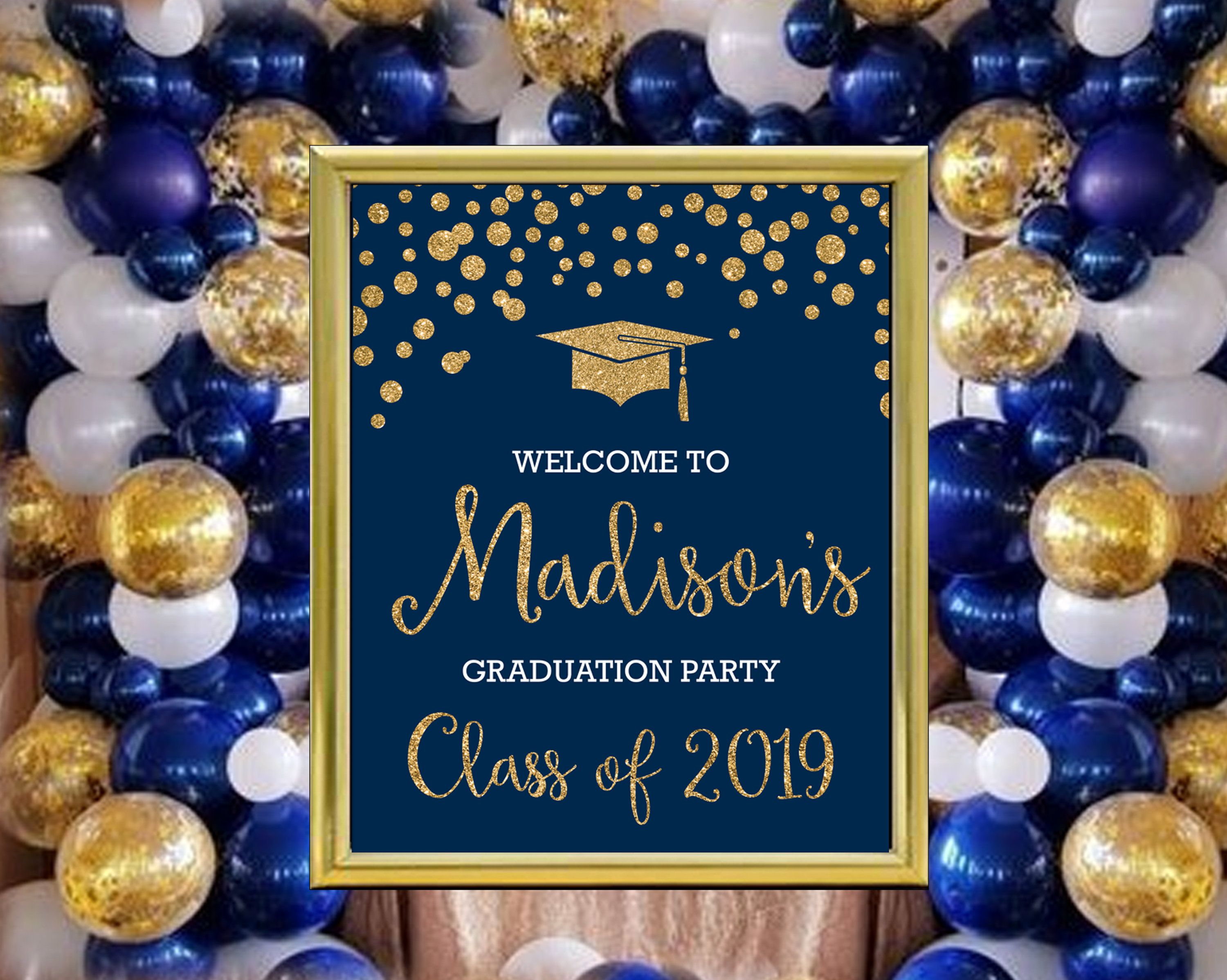 Personalized Graduation Welcome Poster Navy Blue And Gold Or Silver Glitter Printable Party Poster With Images Gold Graduation Party Blue Graduation Party Graduation Party Decor