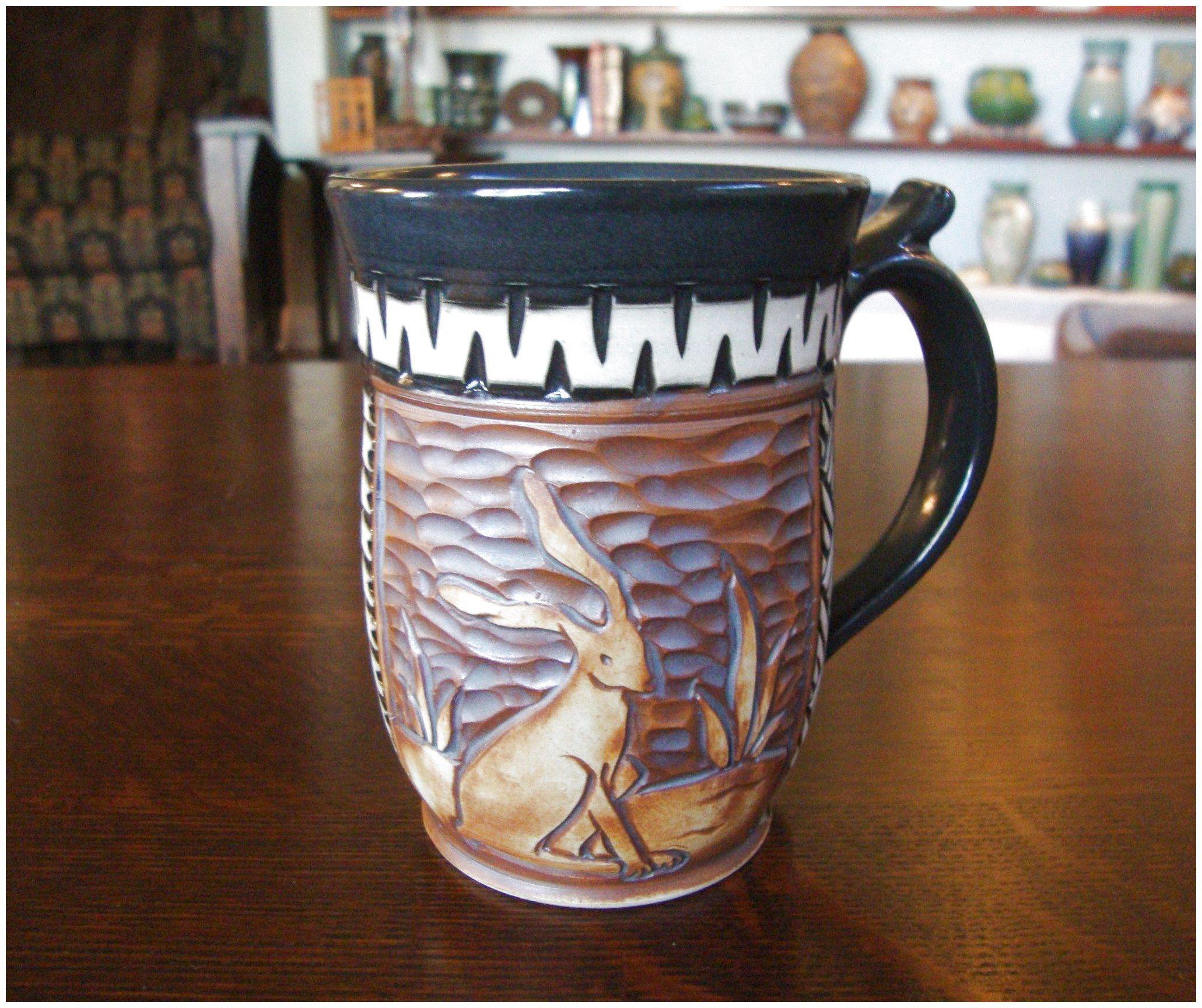 Foxlo Pottery Fox and Lois Garney Coffee Mug Rabbit