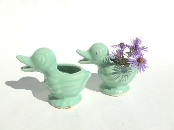 Ceramic Duck Planters Aqua Glaze by BornAtTheWrongTime, $22.00 #McCoy