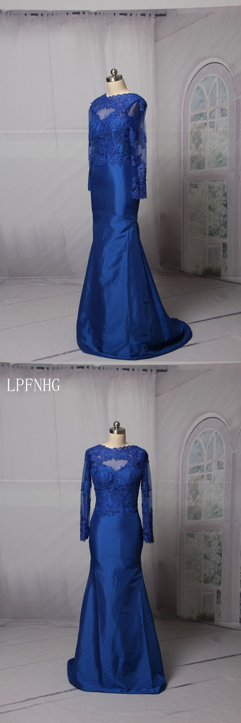 Royal blue prom dresses oneck long sleeve backless sweep train