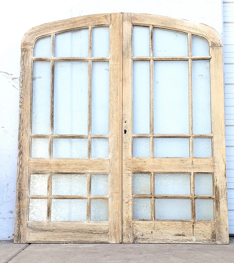 Pair Of 15 Lite Bleached Oak French Doors In 2020 Oak French Doors French Doors French Doors With Screens