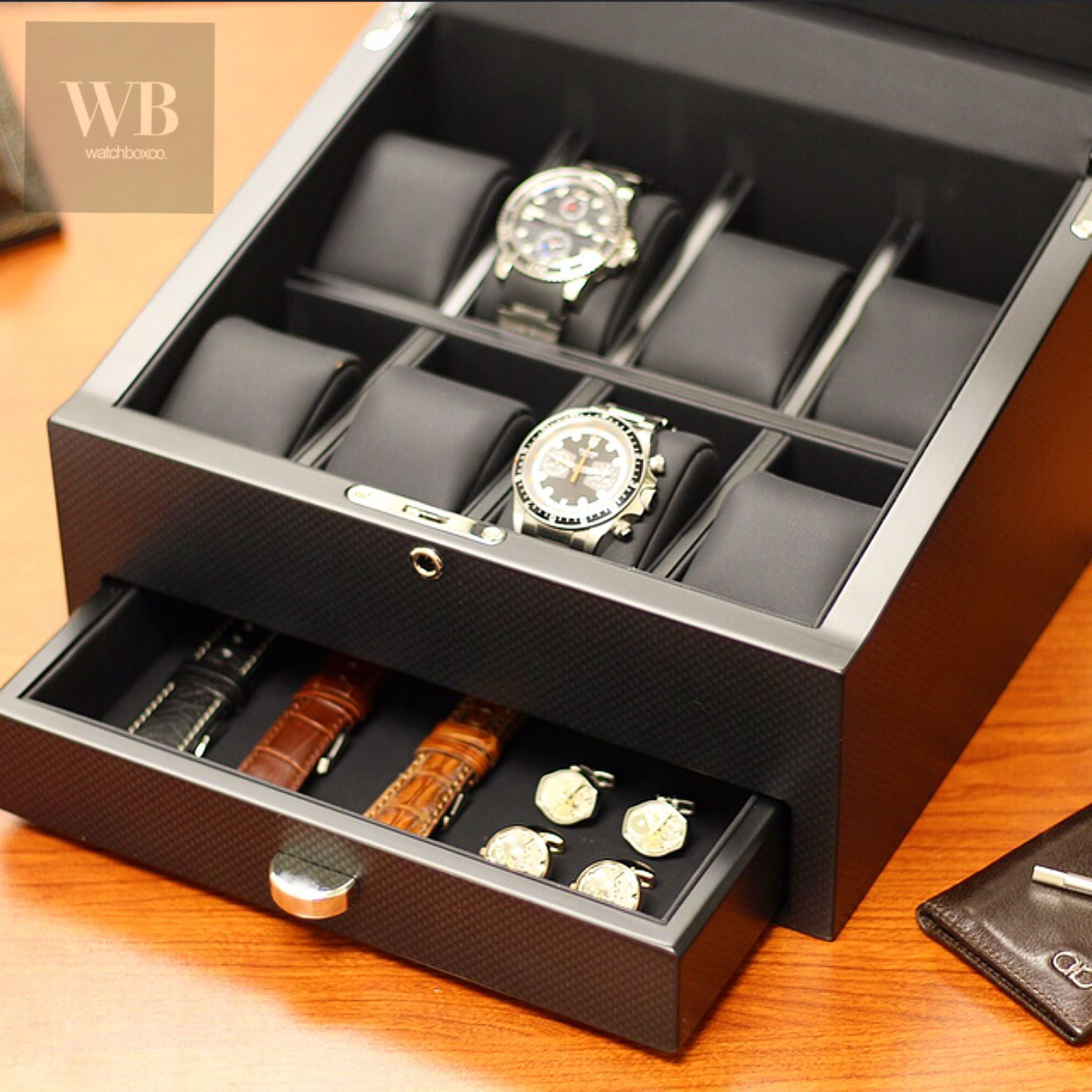 8 carbon fiber watch box with storage drawer www for Men s jewelry box for watches and cufflinks