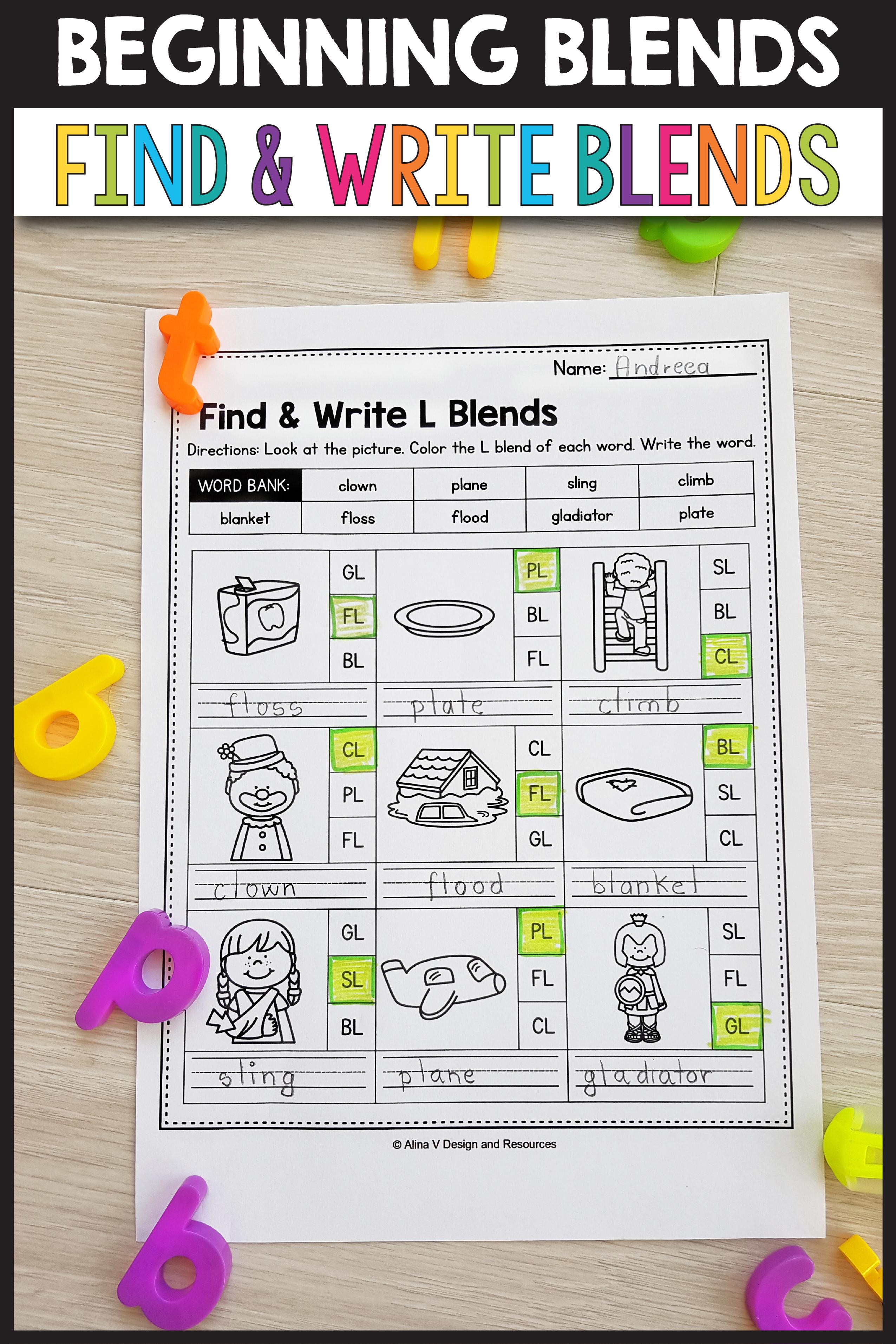 S Blends Worksheets L Blends Activities