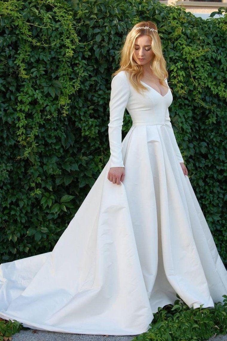 New Elegant Satin Wedding Dresses V Neck Long Sleeve