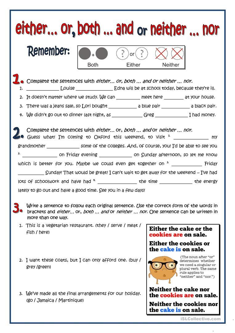 Correlative Conjunctions Worksheet 5th Grade Both Either Neither English  Esl Worksheets for   Conjunctions worksheet [ 1079 x 763 Pixel ]
