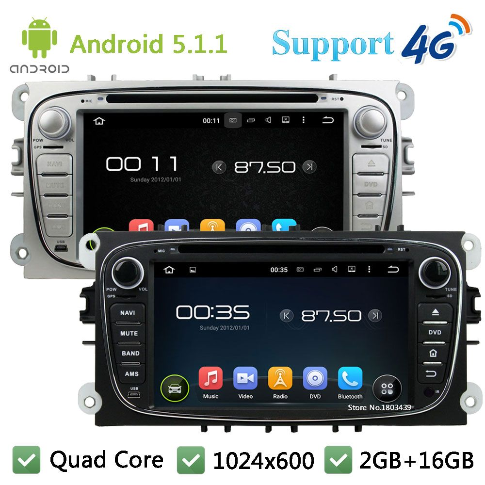Quad Core 1024 600 Android 5 1 1 Car Dvd Player Radio Stereo 4g