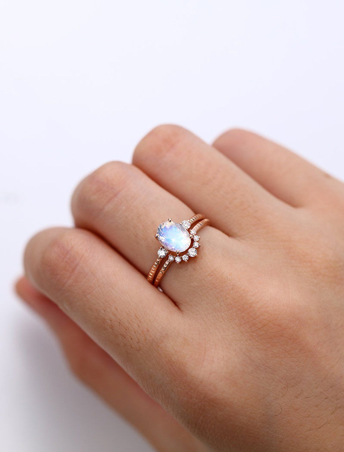 Moonstone engagement ring set rose gold diamond cluster ring unique
