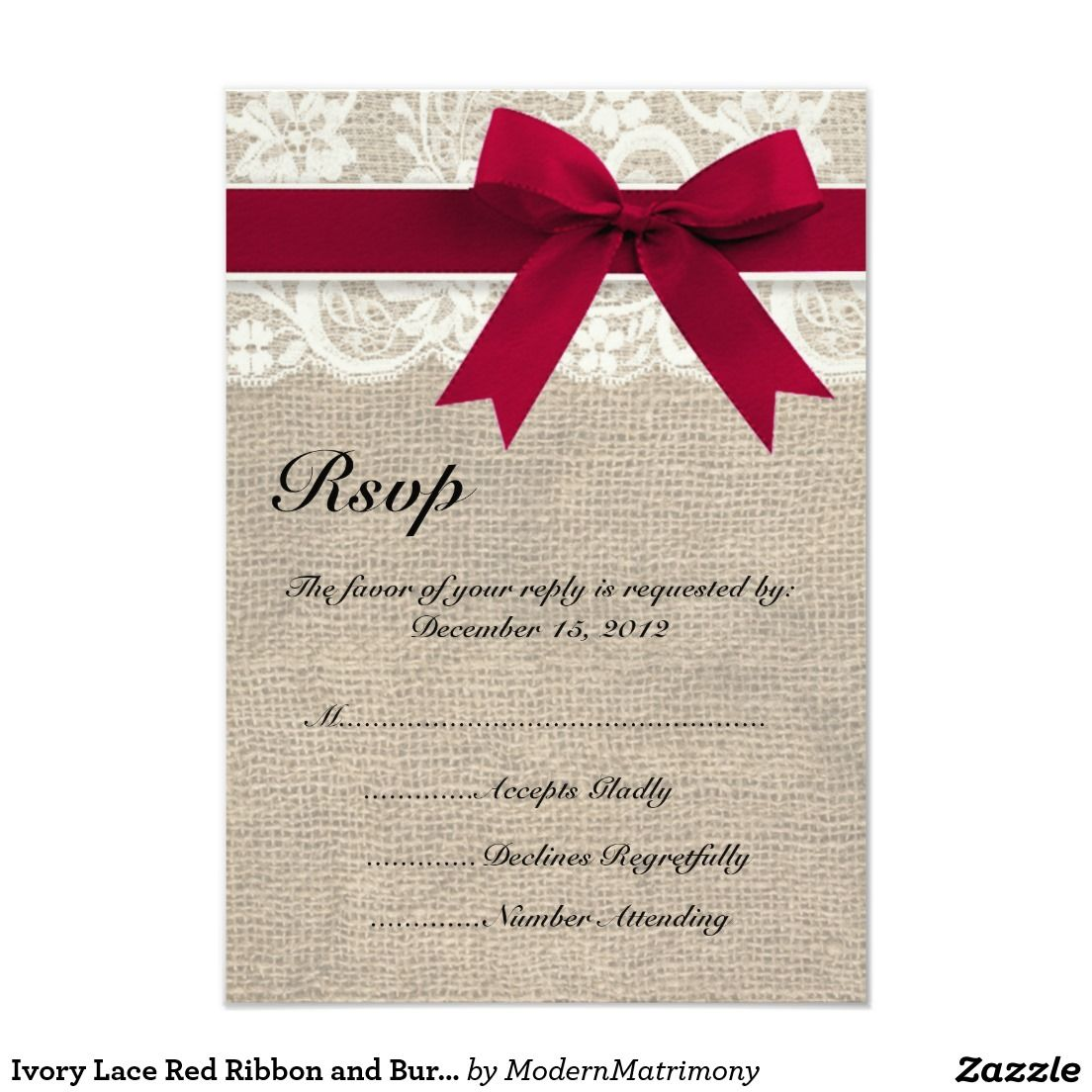Ivory Lace Red Ribbon and Burlap Wedding RSVP Card | LACE WEDDING ...