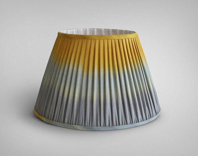 Yellow and grey ikat ombre pleated lampshade cocokelley yellow and grey ikat ombre pleated lampshade mozeypictures Images