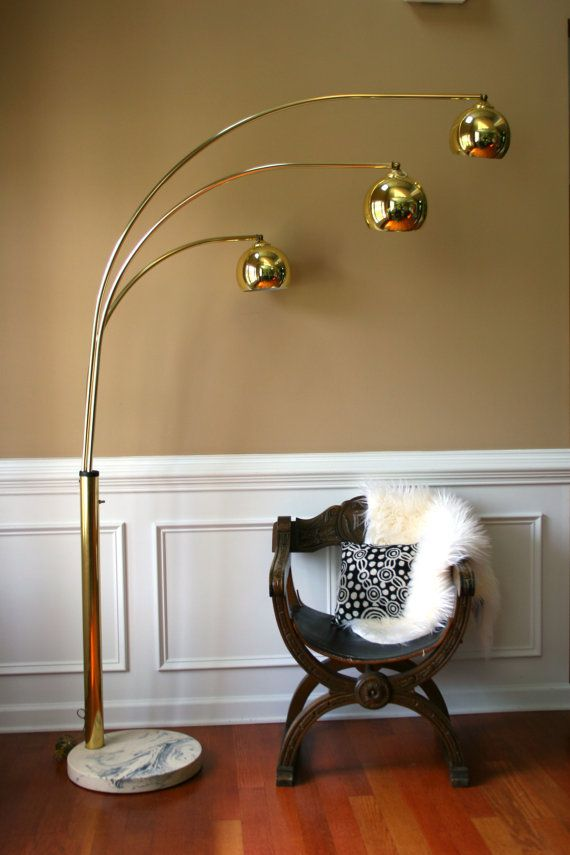 Vintage Brass Arc Floor Lamp Mid Century Orb Lamp Metallic
