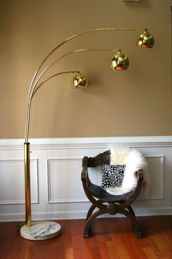 Vintage Brass Arc Floor Lamp Mid Century Orb Lamp Metallic Gold
