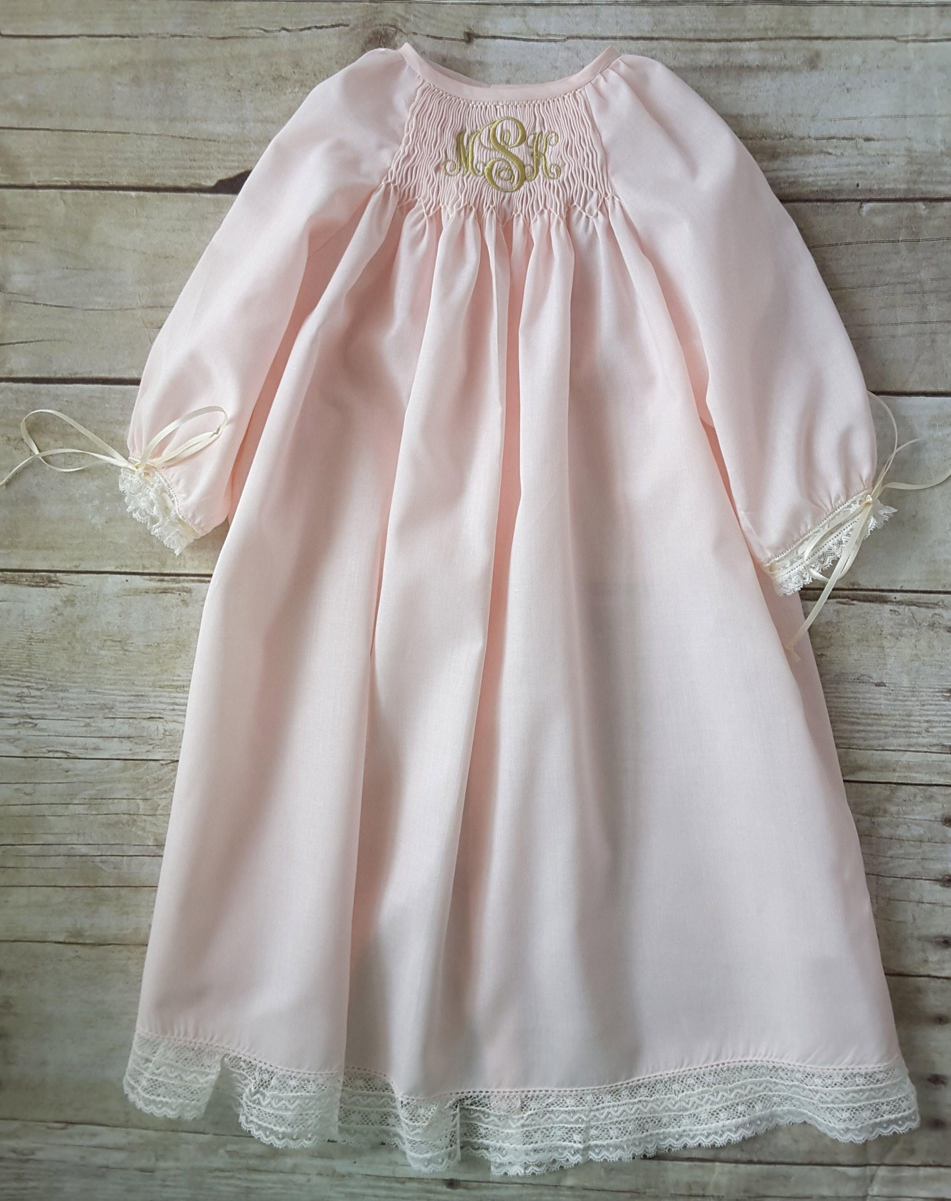 Ballet Pink Smocked Monogrammed Baby Day Gown, Coming Home Outfit ...