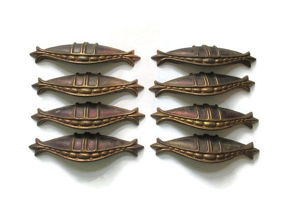 this listing is for 8 very nice vintage art deco drawer pulls and all 16 screws antique art deco cupboard handle