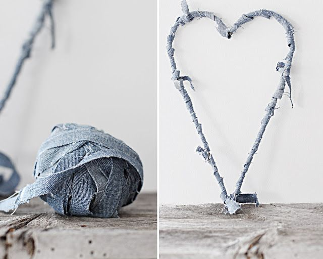 make a heart from wire hanger and wrap in strips from old jeans
