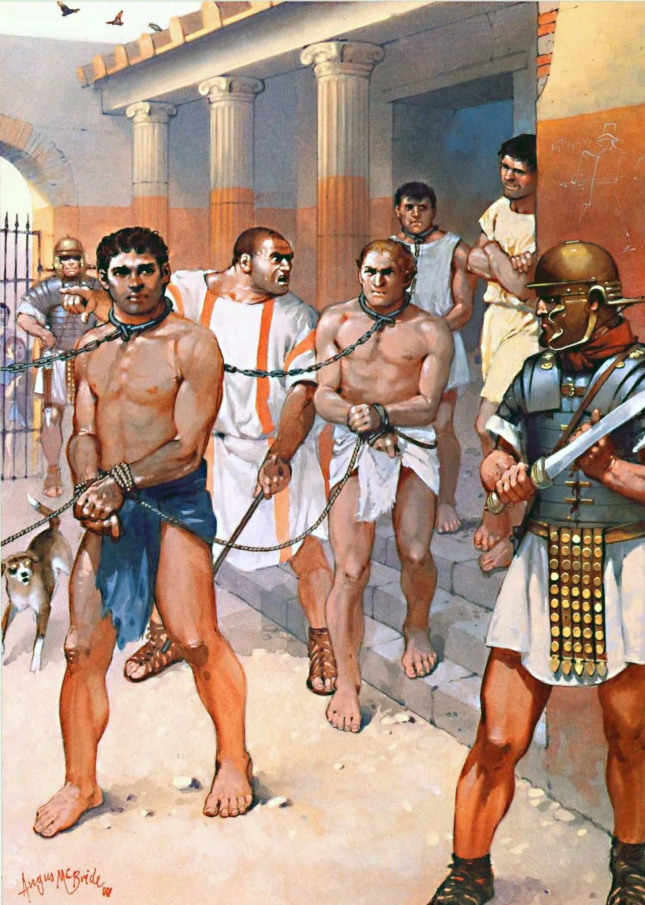 Slaves recruited for training as gladiators- by Angus McBride | Roman history, Roman empire, Ancient rome