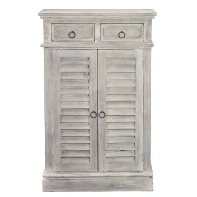 Rosalind Wheeler Rosalind Wheeler Cottage Two Door Shutter Cabinet 2 Shelves And Drawers Distressed Grey Shutter Doors Shutters Drawers
