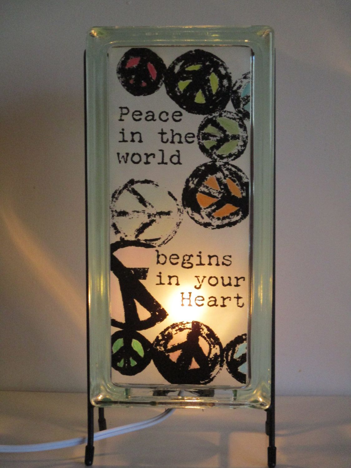 Peace Sign Lamp Upcycled Glass Block Peace Symbol Night Light Mantle Lamp Positive Quote In 2020 Upcycle Glass Glass Blocks Lighted Glass Blocks