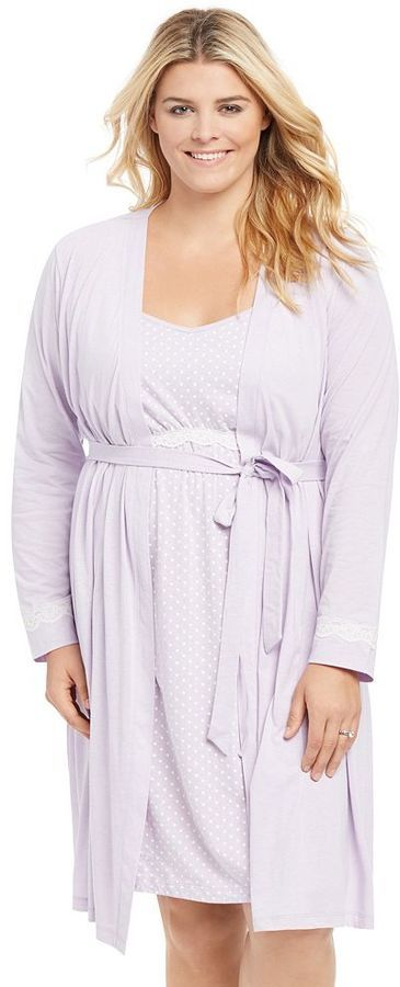 Plus Size Maternity Oh Baby by MotherhoodTM Lace Nursing Gown & Robe ...