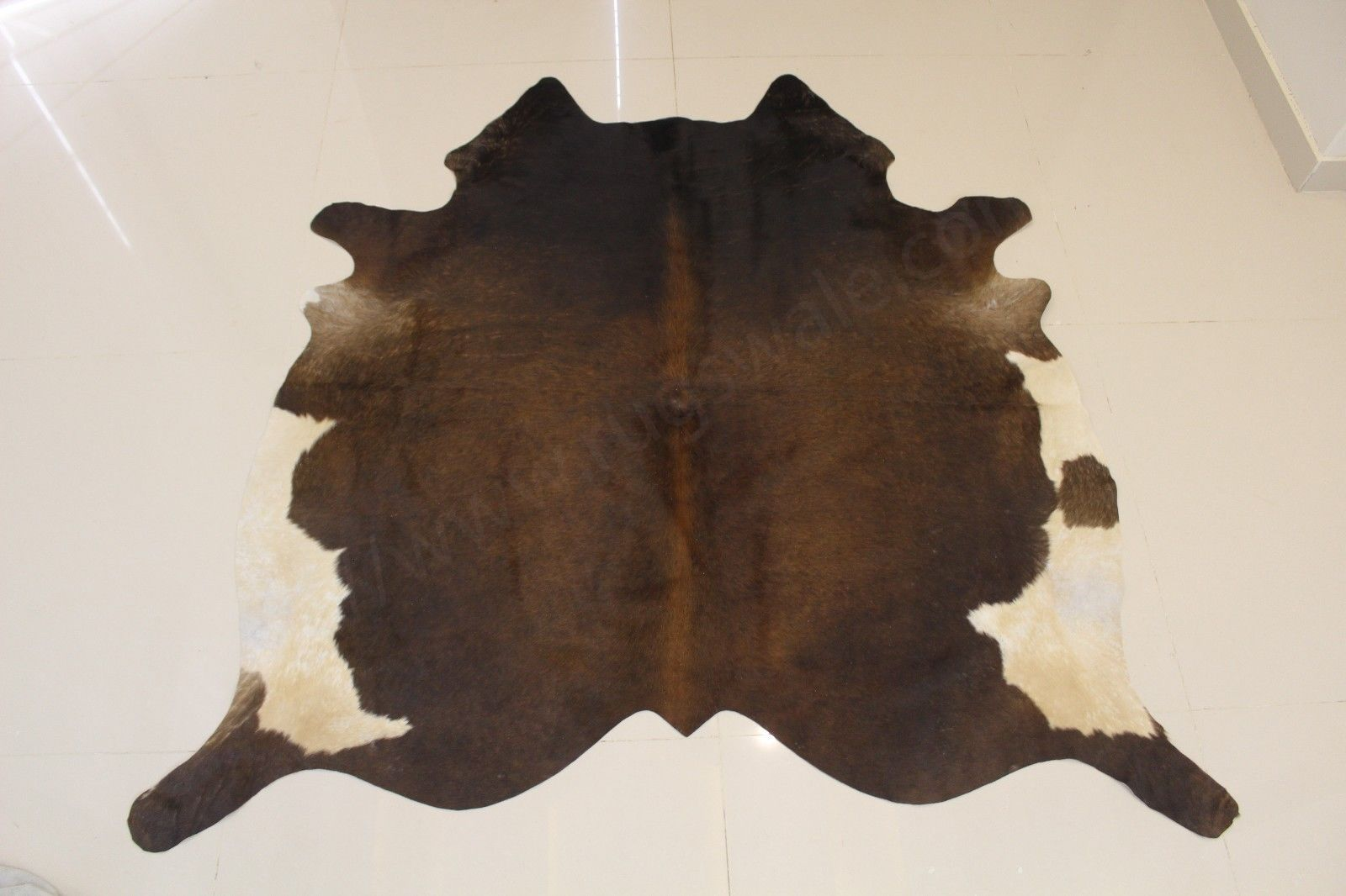 Tricolor Cowhide Rug With Brown White And Black Faux Cowhide