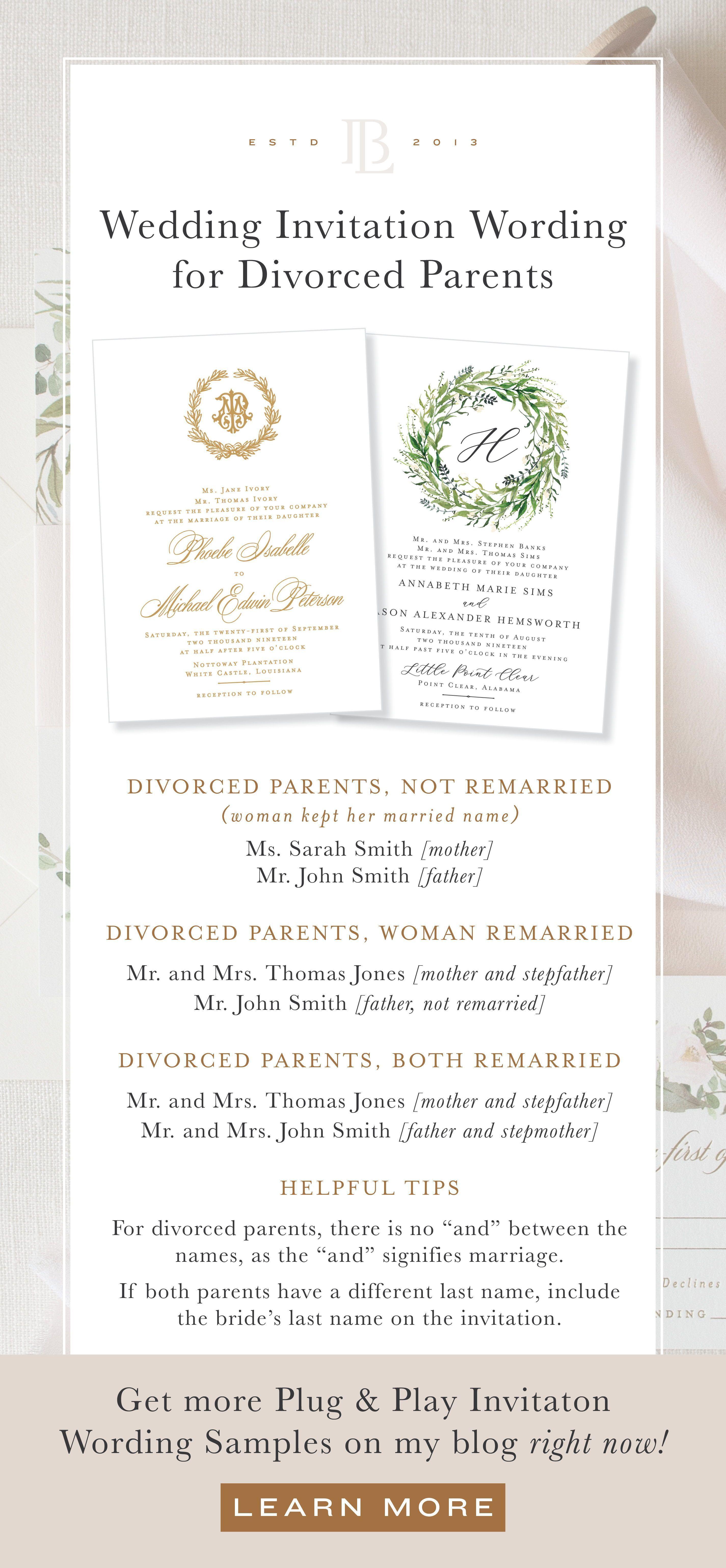 Wonderful Pics Invitation Wording Divorced Parents Popular Since You Ve In 2020 Wedding Invitation Wording Formal Formal Invitation Wording Trendy Wedding Invitations