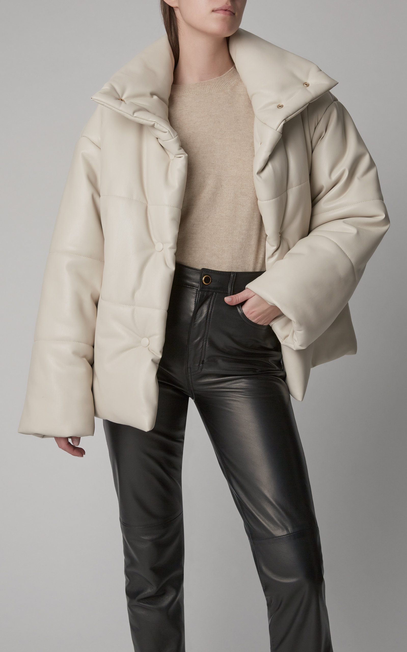 Hide Vegan Leather Puffer Coat By Nanushka Now Available On Moda Operandi Puffer Jacket Outfit Beige Outfit Black White Outfit [ 2560 x 1598 Pixel ]