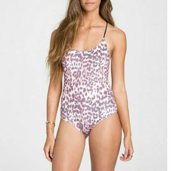 Billabong Bodysuit Pink and black leopard print bodysuit - Billabong Intimates - Stretchy faux suede - Multi strap detail on back - Cheeky back coverage - Polyamide and elastane - Like new! Only worn once Billabong Tops