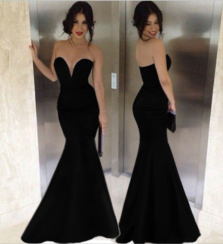 black strapless v neck trumpet long evening dress | beautiful and ...