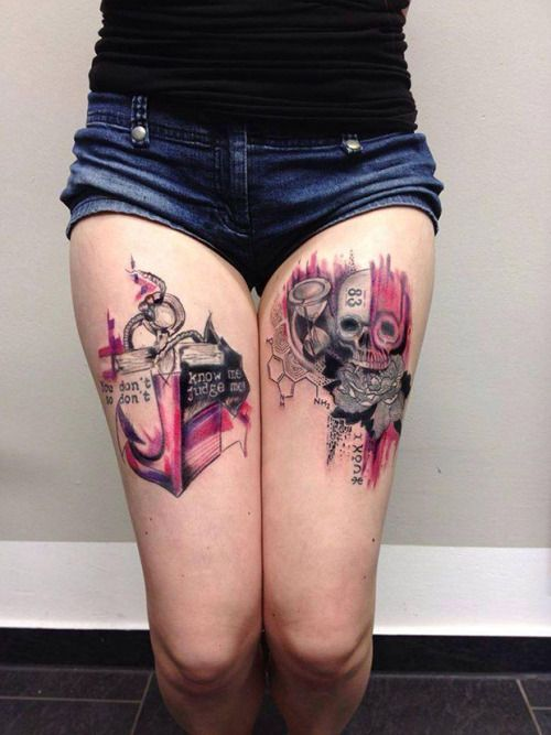 Sexy skull thigh tattoo