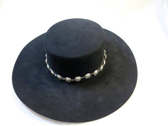 Vintage 8X Beaver Felt Hat Black w  Silver Concho Band Rand s Custom Hatters  Billings Mont. USA Wome b8d1875b2fd