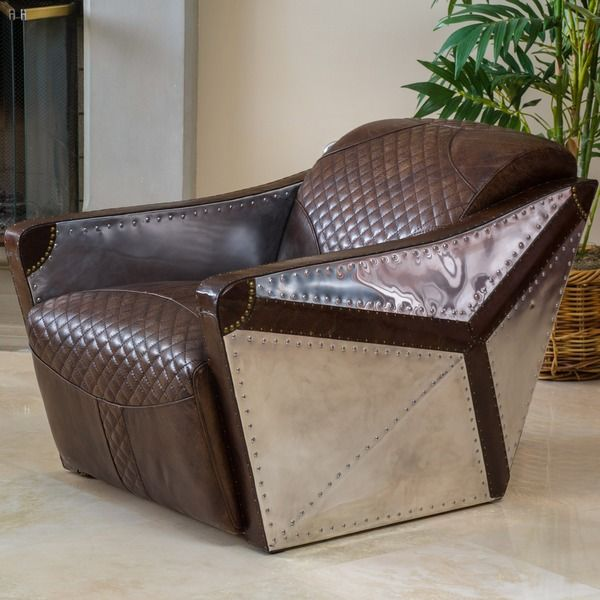 Charming Christopher Knight Home Jetta Brown Leather And Metal Club Chair    Overstock Shopping   Great Deals