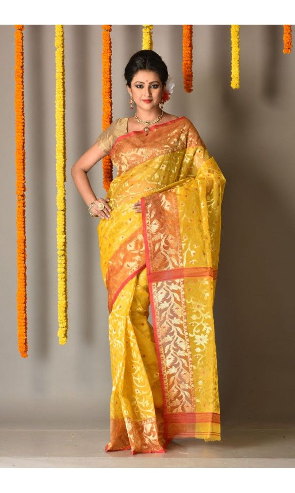 28a1a1cb45 Red - Yellow - Dhakai Jamdani Saree - Colors Of Bengal - adi4083 |  Adimohinimohankanjilal