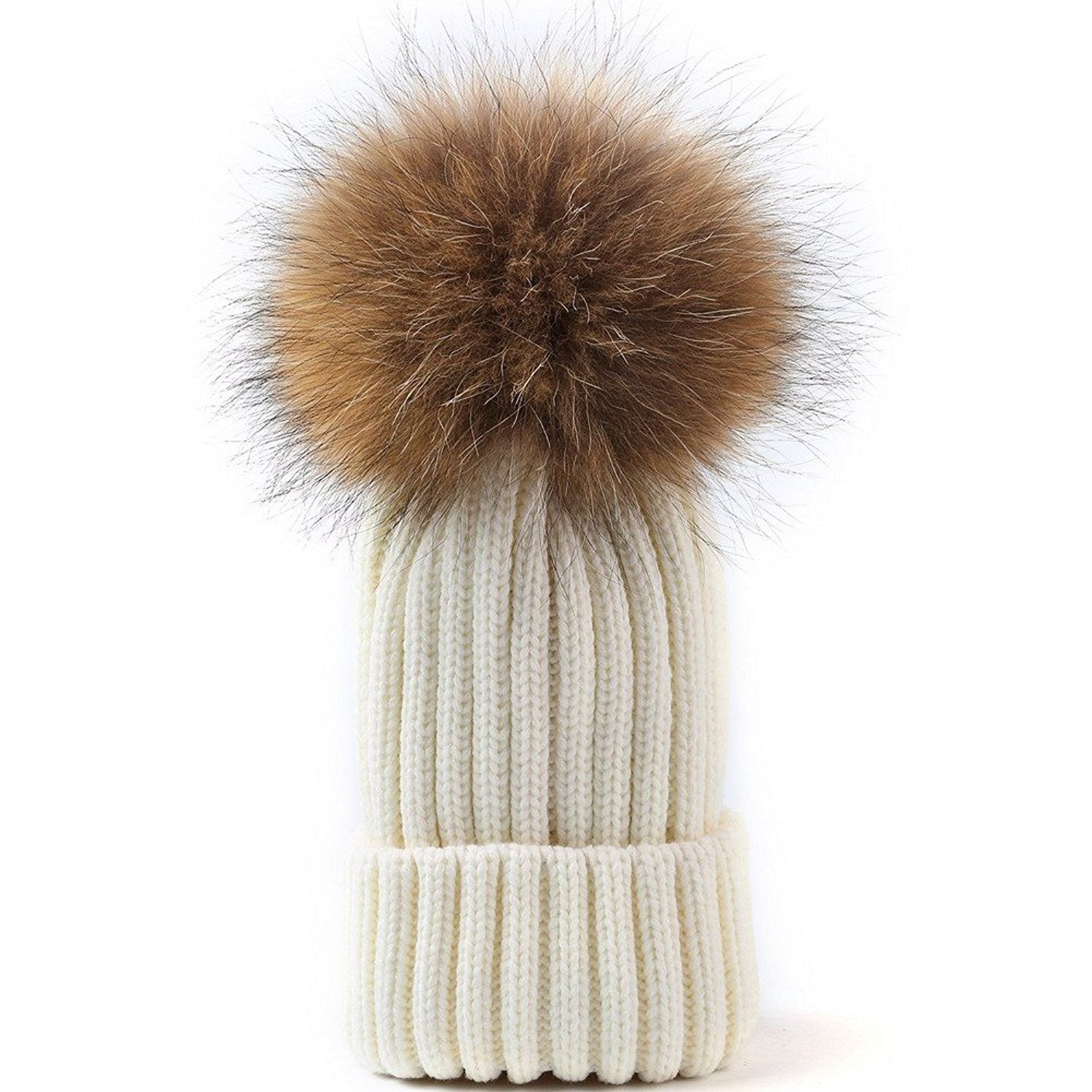 804311b4085 Womens Winter Fur hats Real Large Detachable Raccoon Fur Pom Pom Beanie Hat  - Ivory -